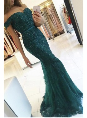 2019 Sexy Mermaid/Trumpet Dark Green Off The Shoulder Prom Dresses