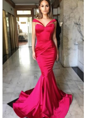 Mermaid/Trumpet Red Prom Dresses Satin Long Train
