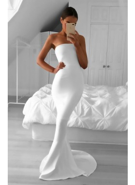 2021 Elegant Mermaid/Trumpet Strapless Satin White Prom Dresses
