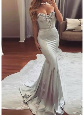 2021 Siren Silver Mermaid/Trumpet Sweetheart Beaded Elastic Satin Prom Dresses