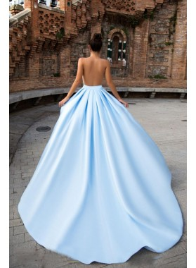 New Arrival Column/Sheath Blue Sweetheart Long Train Prom Dresses