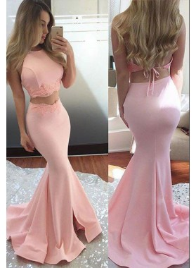 2021 Charming Mermaid/Trumpet Two Pieces Satin Pink Prom Dresses