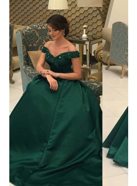 Princess/A-Line Satin Dark Green Off The Shoulder Prom Dresses