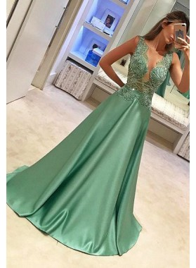 2019 Cheap Princess/A-Line Satin Beaded Prom Dresses
