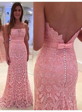 Column/Sheath Pink Strapless Lace Prom Dresses