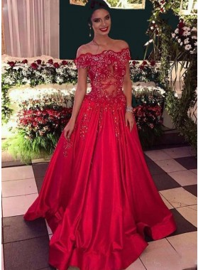 New Arrival Princess/A-Line Red Off The Shoulder Satin Prom Dresses