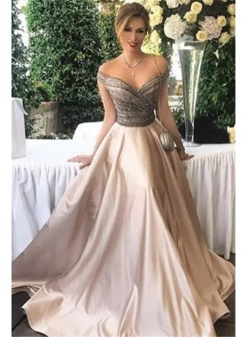 2019 Siren Princess/A-Line Sweetheart Beaded Satin Prom Dresses