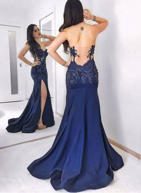 Dark Navy Side Slit Satin Prom Dresses Satin