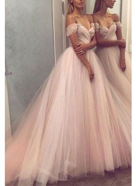 Pink Princess/A-Line Sweetheart Tulle Off The Shoulder Prom Dresses