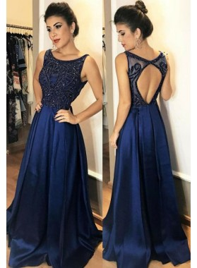 Dark Navy Satin Backless Beaded Prom Dresses