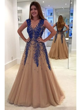 New Arrival Princess/A-Line Champagne Tulle Beaded Prom Dresses