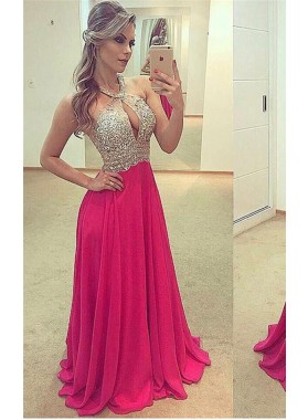 Hot Sale Princess/A-Line Chiffon Floor Length Backless Fuchsia Prom Dresses