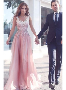 2019 Cheap Chiffon Princess/A-Line Pearl Pink Prom Dresses With Appliques