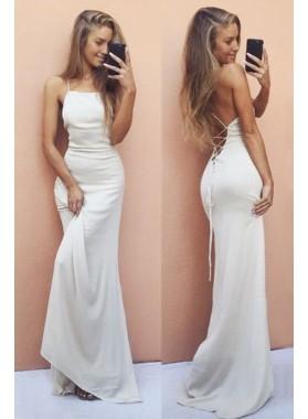 White Sheath Sweep Train Backless Prom Dresses