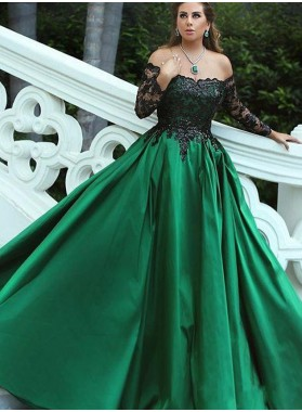 Off The Shoulder Satin Hunter Long Sleeves Prom Dresses