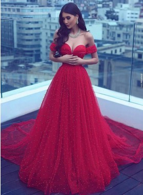 Beautiful Princess/A-Line Sweetheart Lace Up Beaded Red Prom Dresses