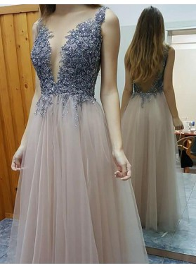 Princess/A-Line Dusty Rose Tulle 2019 Cheap Prom Dresses