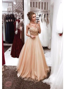 2019 Cheap A Tulle Champagne Prom Dresses