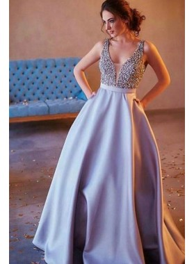 New Arrival Princess/A-Line Satin Silver Prom Dresses Beaded