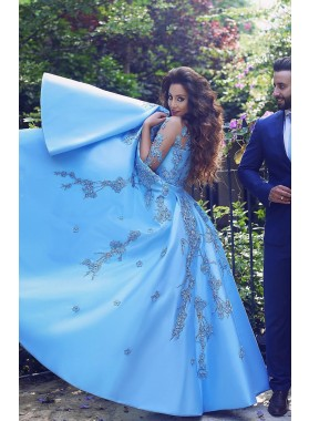 2019 Siren Blue Sweetheart Satin With Embroidery Ball Gown Prom Dresses