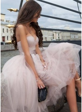 2019 Cheap Pearl Pink Sweetheart Tulle Tea Length Prom Dresses