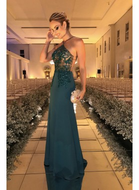 2019 Sexy Sheath Teal Halter Backless Prom Dresses