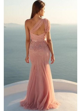 One Shoulder Tulle Dusty Rose Beaded Prom Dresses