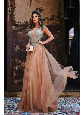 Tulle Princess/A-Line Beaded Sweetheart Tulle Prom Dresses