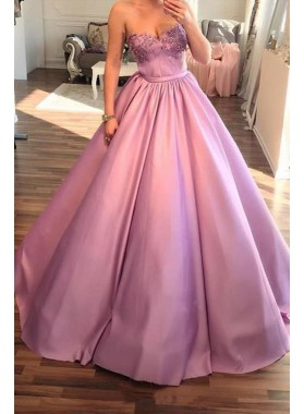 2020 Elegant Ball Gown Sweetheart Satin Pink Prom Dresses