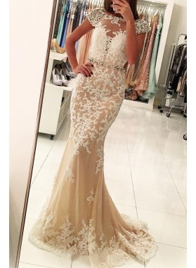 Champagne Mermaid Capped Sleeves Tulle Prom Dresses With Appliques