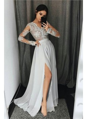 2020 Cheap Princess/A-Line Chiffon Side Slit Silver Long Sleeves Prom Dresses