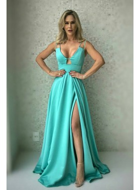 Princess/A-Line Satin Sweetheart Mint Green Side Slit Prom Dresses