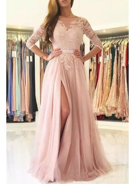 2021 Charming Princess/A-Line Side Slit Long Sleeves Pink Prom Dresses