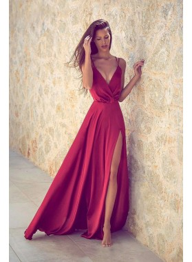 2020 Siren Princess/A-Line Red Satin Side Slit Prom Dresses