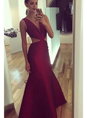 Princess/A-Line Satin Burgundy 2019 Cheap Prom Dresses
