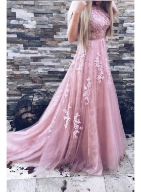 Princess/A-Line Pink Tulle Floor Length Prom Dresses