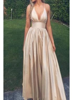 2019 Cheap Princess/A-Line Halter Taffeta Champagne Prom Dresses