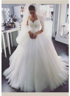 Tulle 2020 Ball Gown Wedding Dresses Spaghetti Straps