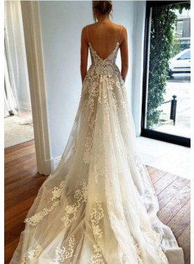 Backless A Line V Neck Tulle 2021 Lace Spaghetti Straps Wedding Dresses