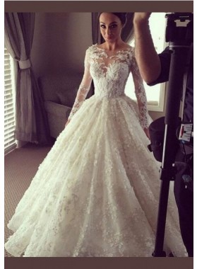 Ball Gown Long Sleeves 2019 Lace wedding Dresses