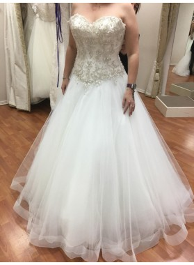 2021 Sweetheart Beaded A-line Wedding Dresses
