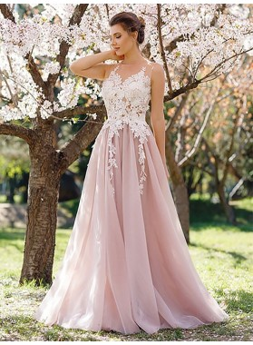 2021 Blushing Pink A-line Chiffon Appliques Prom Dresses