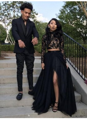 Black Long Sleeves Side Slit Two Pieces Beaded Lace Prom Dresses 2021