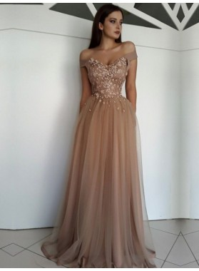 2020 A-Line/Princess Tulle Sweetheart Off The Shoulder Champagne Prom Dresses
