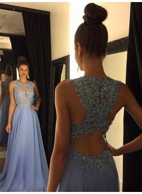 Floor-Length/Long A-Line/Princess Beading Chiffon Prom Dresses Lavender