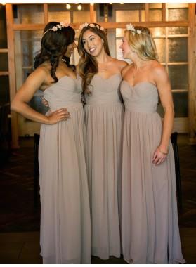 Cheap Chiffon A Line Floor Length Sweetheart Bridesmaid Dresses