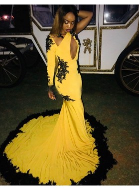 2020 Sexy Yellow Mermaid One Sleeve Prom Dresses