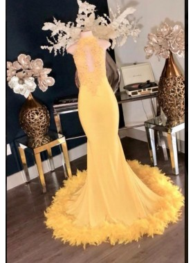 Charming Yellow High Neck Mermaid Prom Dresses 2020