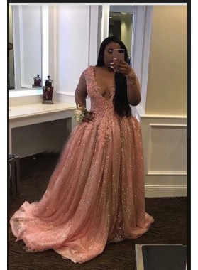 2019 Long Sleeve Sequence Blushing Pink Ball Gown Prom Dresses