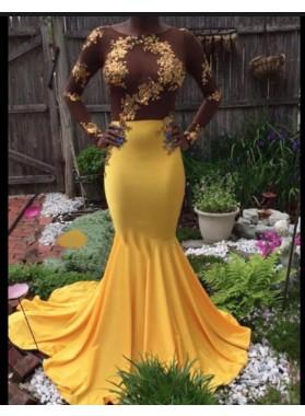 2019 Long Sleeve Yellow Mermaid Satin Prom Dresses